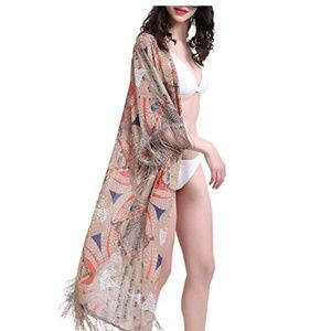 Beach Cover Ups for Women Floral Cardigan Kimono
